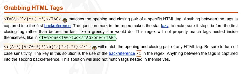 From regular-expressions.info, how to match HTML tags