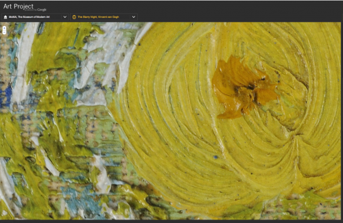 "One of the stars in Van Gogh's ""Starry Night"" in Google's Art Project."