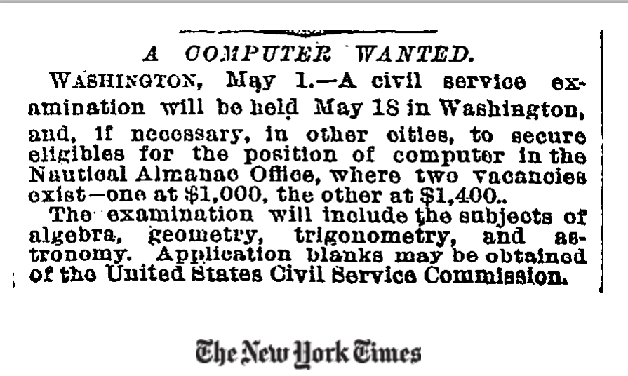 "The first time ""Computer"" has appeared in the New York Times? (1892)"