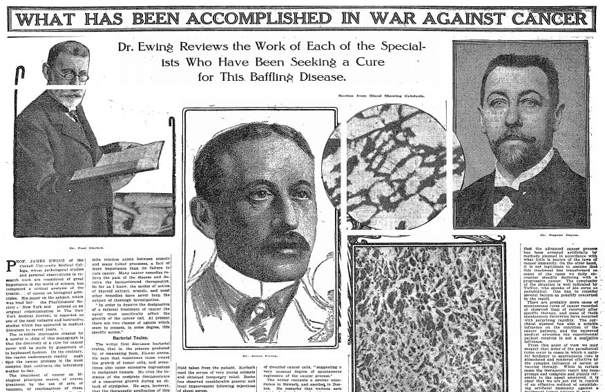 """""""WHAT HAS BEEN ACCOMPLISHED IN WAR AGAINST CANCER"""": A New York Times feature story, dated Nov 3, 1912"""