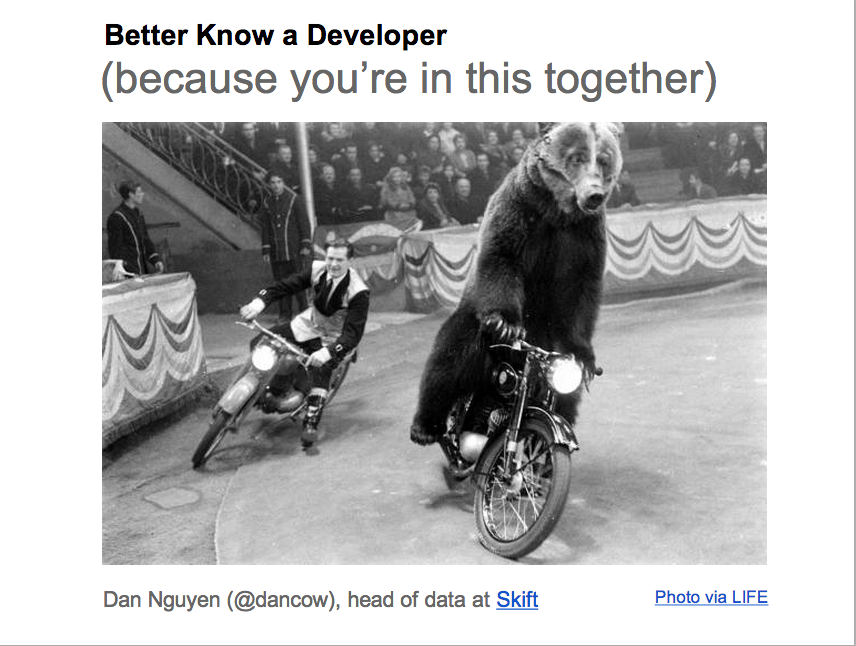 Better know a developer, because you're in this together