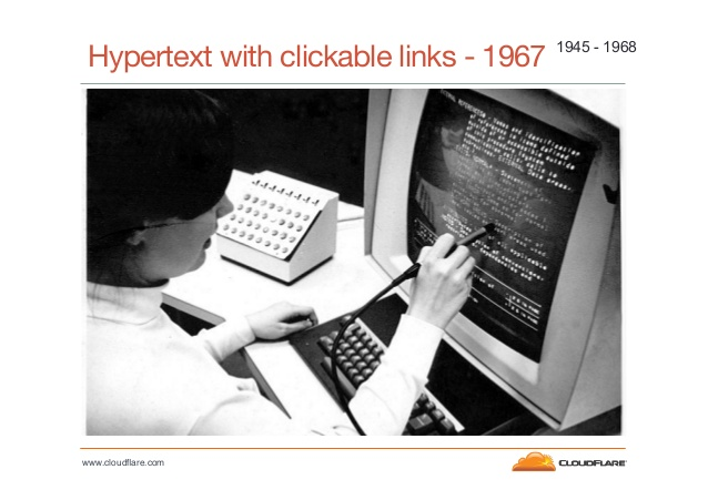 Hypertext with clickable links, circa 1967, via John Graham-Cumming's OSCON Talk, http://www.slideshare.net/cloudflare/cloud-flare-jgc-turings-curse-oscon-2013