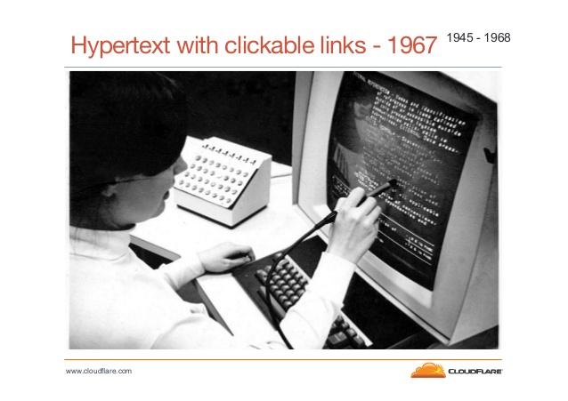 Hypertext with clickable links, circa 1967, via John Graham-Cumming's OSCON Talk, http://www.slideshare.net/cloudflare/cloud-flare-jgc-turings-curse-oscon-2013