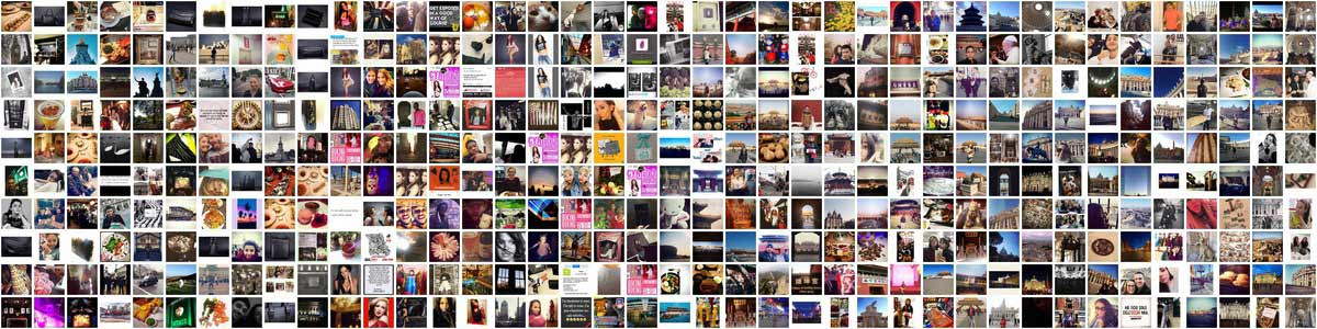 A command-line collage of Instagram photos from The Forbidden City, Buckingham Palace, The Vatican, and the City Museum in St. Louis